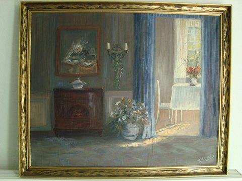 www.Antikvitet.net - Maleri af Ingeborg Debois - Interiør fra stue.