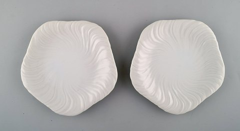 Arje Griegst for Royal Copenhagen. To Konkylie tallerkener i porcelæn.