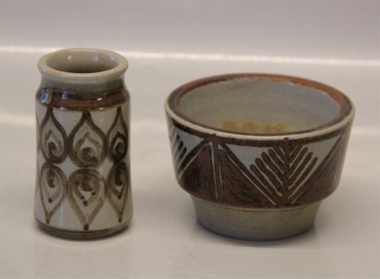 bornholmsk keramik .Antikvitet.  L. Hjorth Bornholmsk Keramik Vase og lille skål bornholmsk keramik