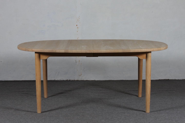 www.Antikvitet.net - Brdr. Andersen * Oval spisebord m/plader * * Massiv asketræ