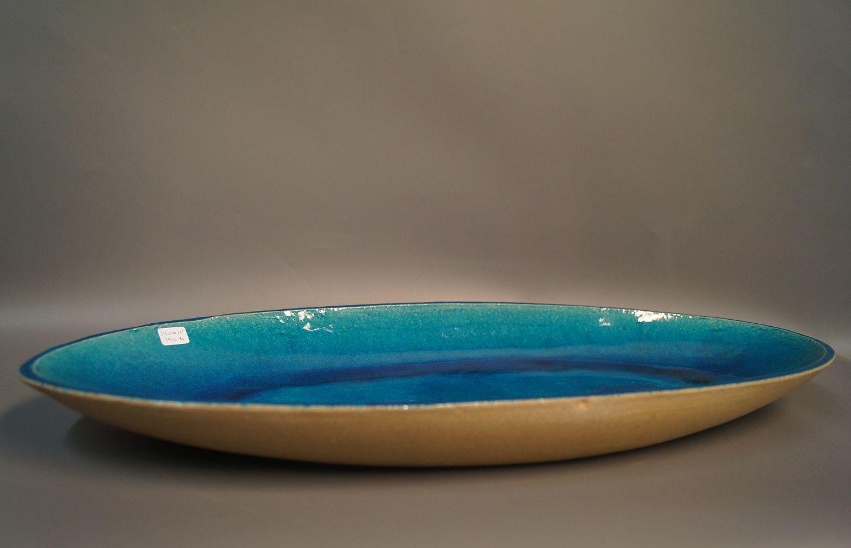 keramik fad .Antikvitet.  Stort aflangt keramik fad med blå glasur af  keramik fad
