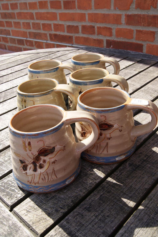 knabstrup keramik .Antikvitet.  Knabstrup keramik. 6 krus knabstrup keramik