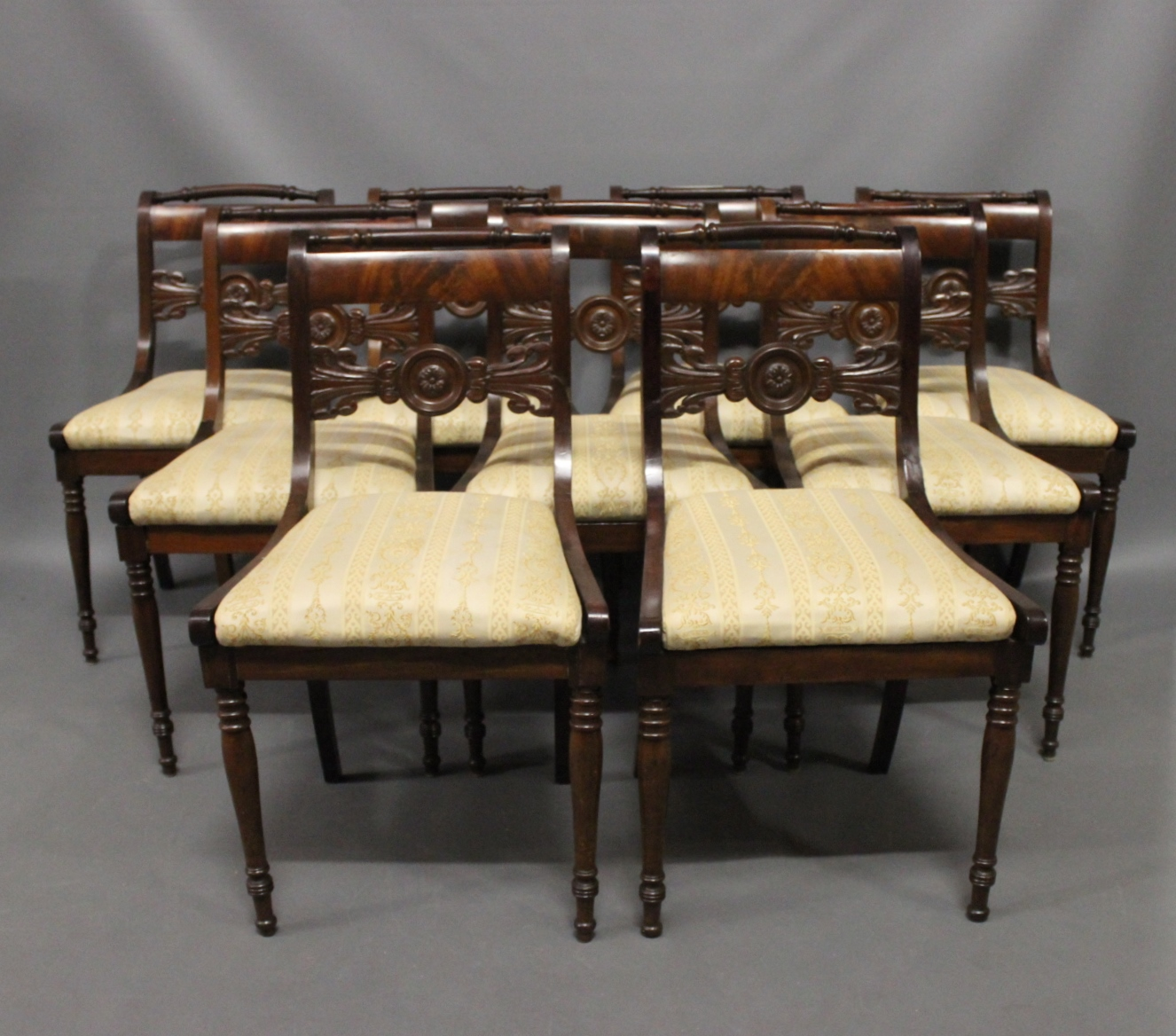 www.Antikvitet.net - Et sæt af 9 antikke stole i stilen sen empire ...