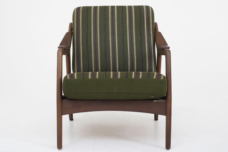 brockmann petersen randers m belfabrik l nestol i teak og stribede. Black Bedroom Furniture Sets. Home Design Ideas
