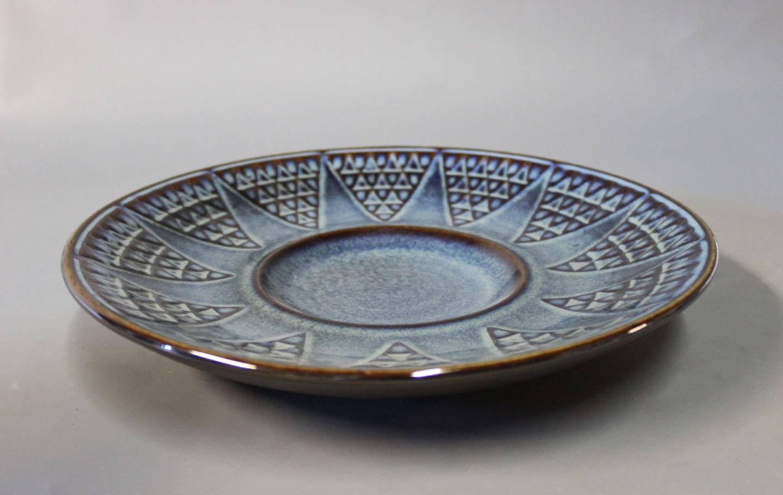 keramik fad .Antikvitet.  Keramik fad med blå glasur, nr.: 3345 af  keramik fad