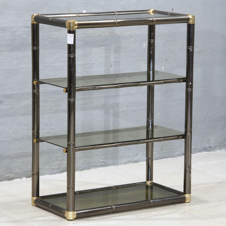 metal reol .Antikvitet.  Reol i glas og metal *   Kr. 700,  metal reol