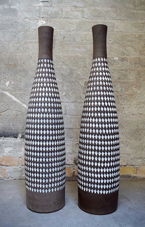 gulvvaser keramik .Antikvitet.  Ingrid Atterberg for Upsala Ekeby et par  gulvvaser keramik