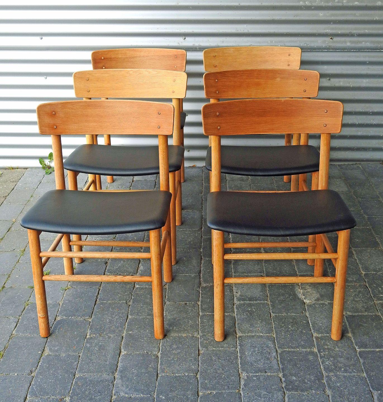 farstrup stole .Antikvitet.  8 Farstrup stole i rustik eg. * farstrup stole