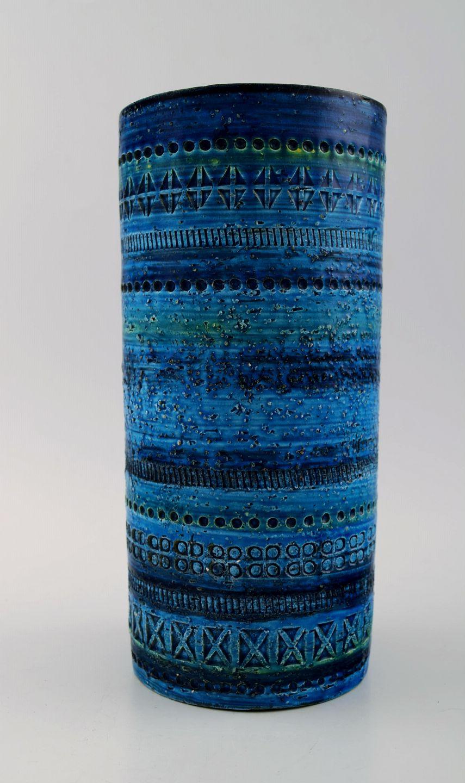 blå keramik .Antikvitet.  Bitossi, Rimini blå vase i keramik, desig blå keramik
