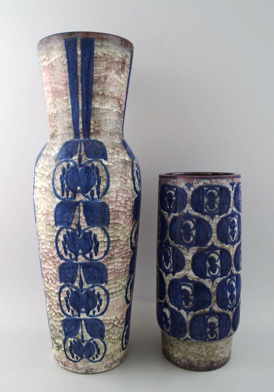 gulvvaser keramik .Antikvitet.  Michael Andersen. To store gulvvaser af  gulvvaser keramik
