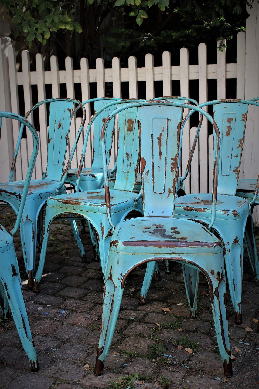 Bare ut www.Antikvitet.net - Original gammel Fransk Tolix stol i metal med MY-39