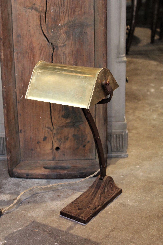 Hypermoderne www.Antikvitet.net - Gammel Fransk skrivebords lampe med fod i råt RT-61