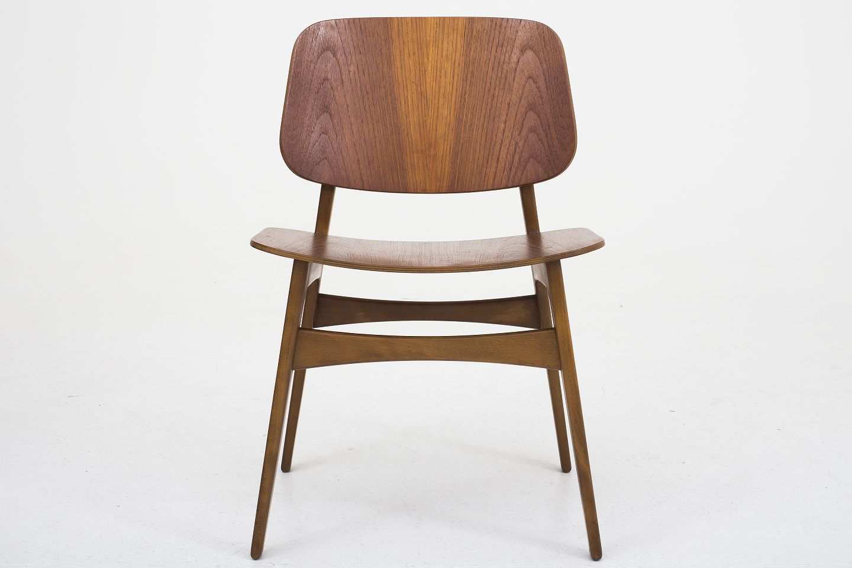 b rge mogensen s borg m belfabrik bm 155 skalstol i teak og stel i b g. Black Bedroom Furniture Sets. Home Design Ideas