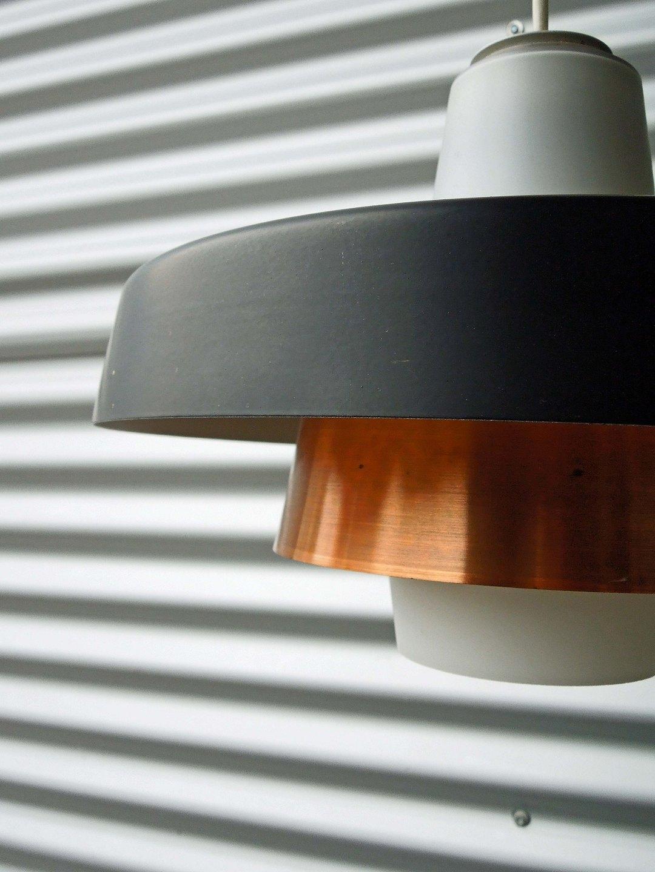 Kobber Og Glas Lampe