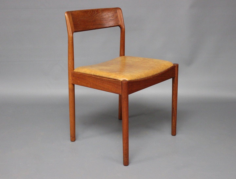 www.Antikvitet.net - Et sæt af seks spisestuestole i teak og sæder ...