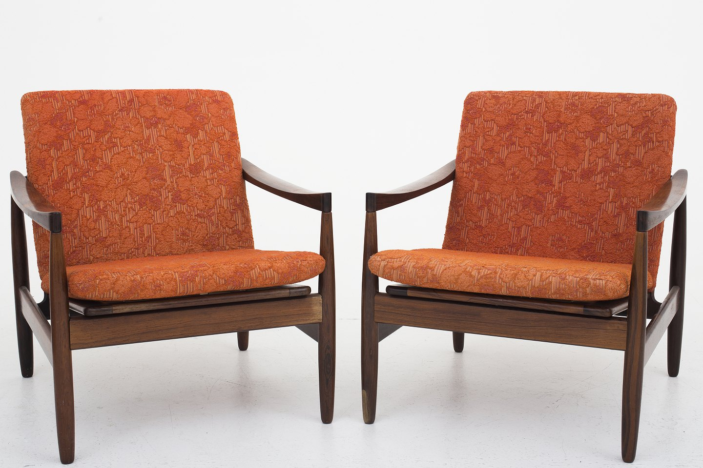 skive m belfabrik l nestol i palisander og r dt velour betr k 2 stk p. Black Bedroom Furniture Sets. Home Design Ideas