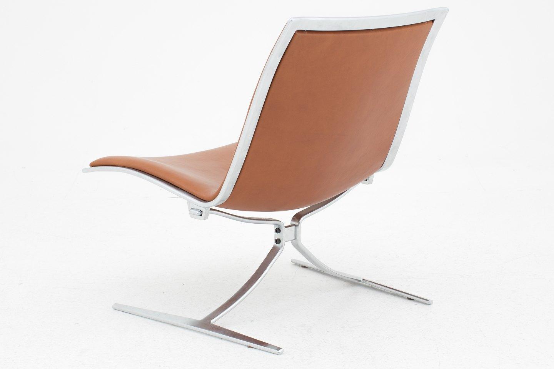 j rgen kastholm lange production fk 710 skater l nestol i brunt l der. Black Bedroom Furniture Sets. Home Design Ideas