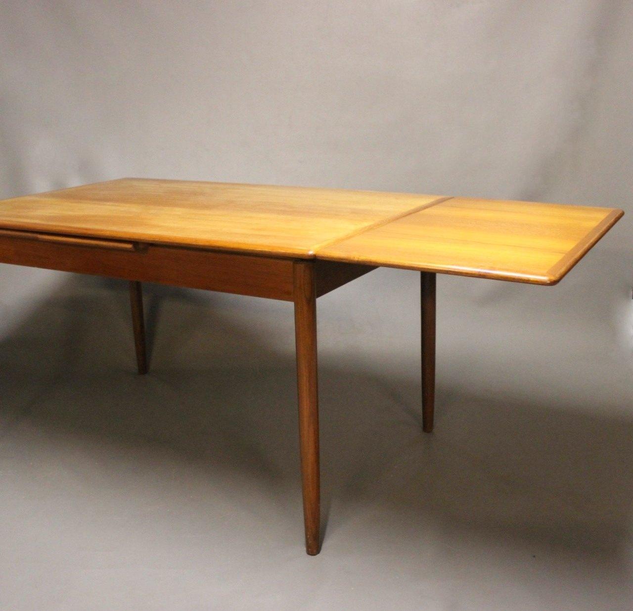 www.Antikvitet.net - Spisebord i teak med hollandsk udtræk af dansk ...