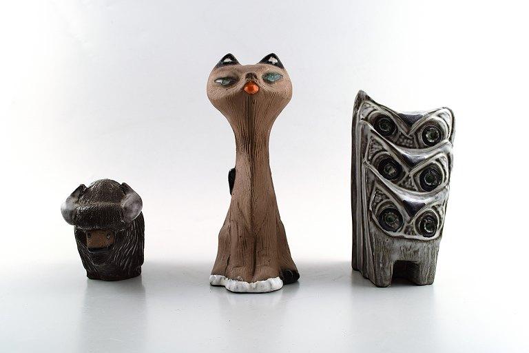 keramik figurer .Antikvitet.  Samling af Upsala Ekeby keramikfigurer, løver  keramik figurer